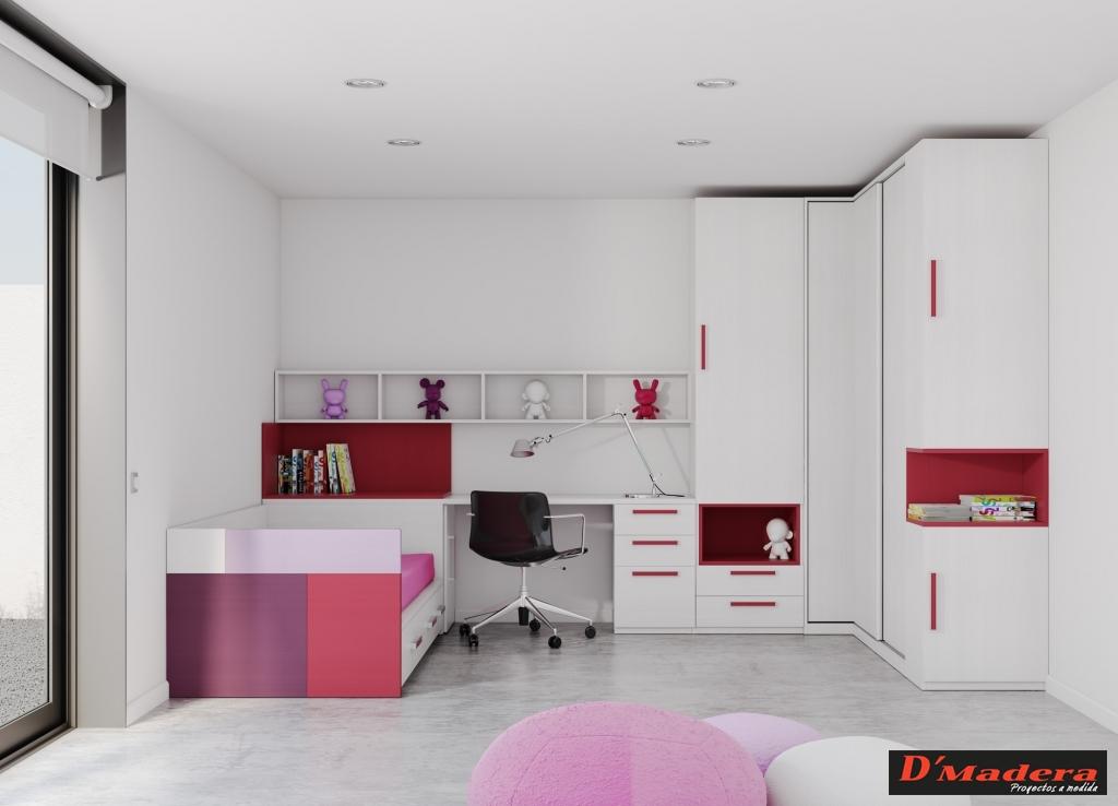 Habitaci n juvenil blanco y rojo for Habitacion lila y blanca