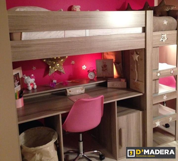 Habitaci n juvenil en melamina nogal con litera y escritorio - Literas juveniles con escritorio ...