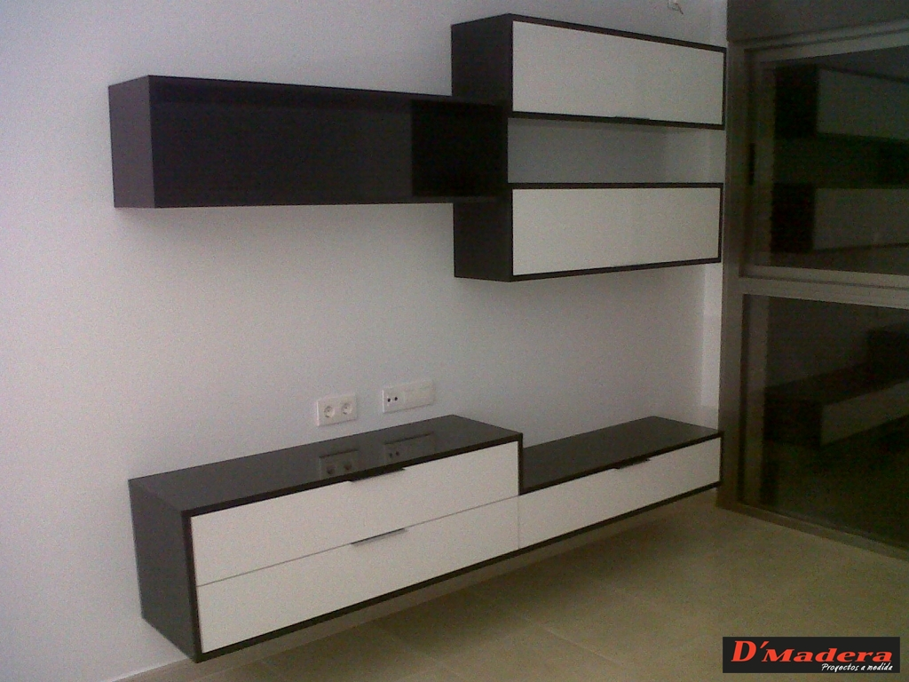 Mueble sal n estratificado blanco for Mueble salon blanco y madera
