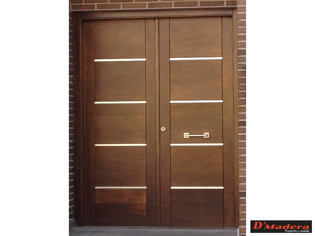 Puerta exterior doble inox for Doble puerta entrada casa